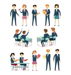 Set of School Education Situation vector image