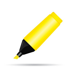 yellow highlighter pen isolated on white vector image