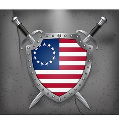 American betsy ross flag medieval background vector