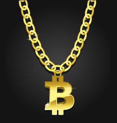 bitcoin iconical symbol on the golden chain vector image vector image