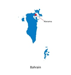 Detailed map of Bahrain and capital city Manama vector image