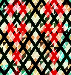 diamond seamless pattern with grunge effect vector image