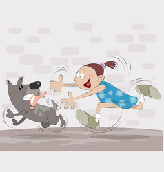 girl catches dog vector image