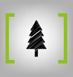 new year tree sign black scribble icon in vector image vector image