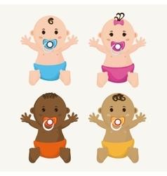 Baby boy and girl cartoon design vector image vector image