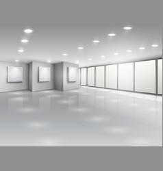 Empty gallery interior with light windows vector image vector image