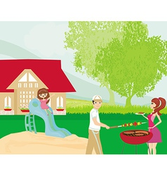 Family having barbecue in the garden vector image