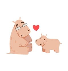 Hippo Dad With Glasses Animal Parent And Its Baby vector image