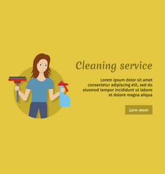 member of cleaning service with broom and cleaner vector image vector image