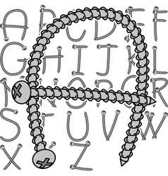 screw alphabet vector image vector image