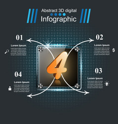 3d digital infographic four glas vector