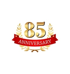 85 years anniversary golden label with ribbons vector image