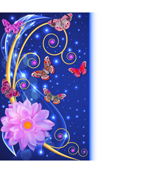 Abstract background with flowers and butterflies w vector