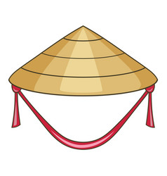 Asian conical hat icon cartoon style vector