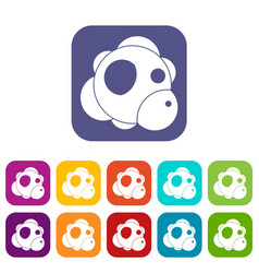 Atom icons set flat vector