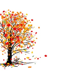Autumn tree on white background vector