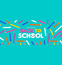 Back to school kid web banner with color pencils vector
