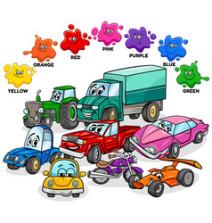 Basic colors with cars and transport characters vector