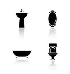 Bathroom interior drop shadow icons set vector image