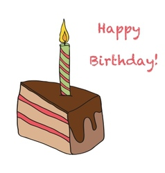 Birthday Cake With One Candle On Top vector image