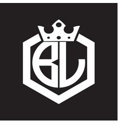 bl logo monogram rounded hexagon shape vector image