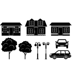 Black icons of houses trees and machines vector image