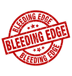 Bleeding edge round red grunge stamp vector
