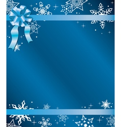 blue christmas card with ribbon vector image