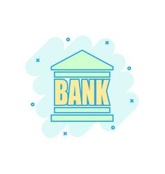 cartoon bank building icon in comic style bank vector image