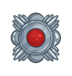 cartoon silver medal decorated with big red stone vector image
