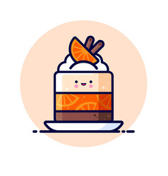 Cheesecake cream jelly orange slice cinnamon vector