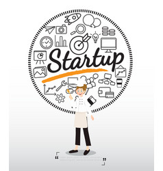 chef character with startup icons on white vector image
