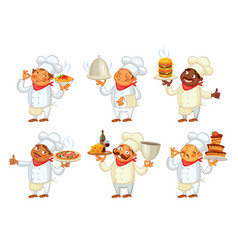 Chef serving the dish funny cartoon character vector