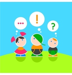 Children and their thoughts Color 1 vector