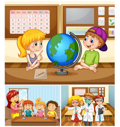 Children learning in classroom with teacher vector