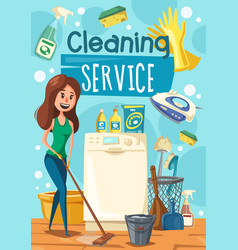 cleaning service woman mopping floor vector image