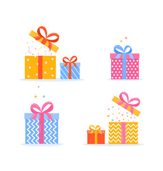 collection realistic square gift box presents vector image