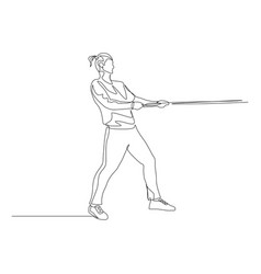 continuous one line ponytail man pulls a rope tug vector image