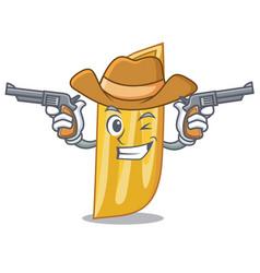 Cowboy penne pasta character cartoon vector