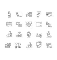 credit cards line icons signs set vector image