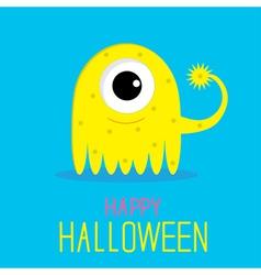 Cute cartoon yellow monster girl Happy Halloween vector image