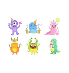 cute colorful monsters set funny friendly mutant vector image
