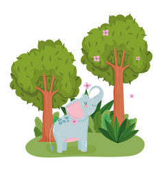 cute elephant with flowers and trees animal grass vector image