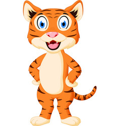 cute tiger cartoon standing vector image vector image