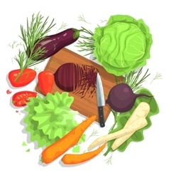 Cutting Vegetables Drawing With Board And Fresh vector