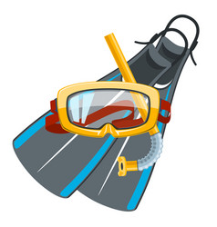 Diving mask and snorkel with flippers vector