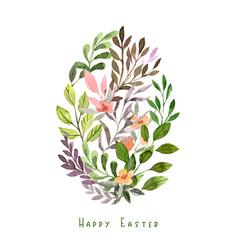 egg shape made floral elements easter decor vector image