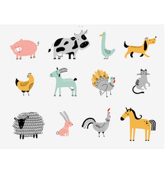 flat cute farm animals vector image