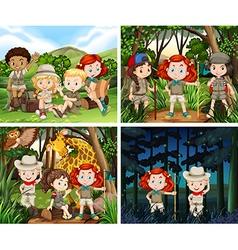 Four scenes children camping in woods vector