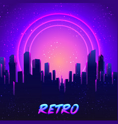 Futuristic synth wave 80s vector